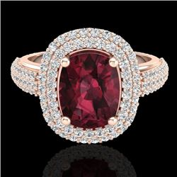 3.10 CTW Garnet & Micro Pave VS/SI Diamond Certified Halo Ring 10K Rose Gold - REF-81W8H - 20711