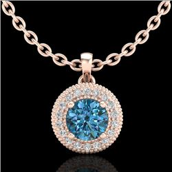 1 CTW Intense Blue Diamond Solitaire Art Deco Stud Necklace 18K Rose Gold - REF-138Y2X - 37664