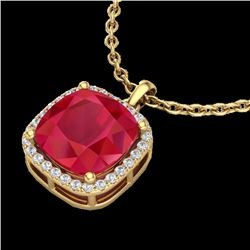 6 CTW Ruby & Micro Pave Halo VS/SI Diamond Necklace Solitaire 18K Yellow Gold - REF-85K5W - 23085
