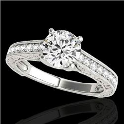 1.32 CTW H-SI/I Certified Diamond Solitaire Ring 10K White Gold - REF-154V4Y - 34943