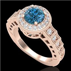 1.53 CTW Fancy Intense Blue Diamond Solitaire Art Deco Ring 18K Rose Gold - REF-263A6V - 37650