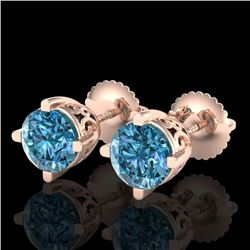 1.50 CTW Fancy Intense Blue Diamond Art Deco Stud Earrings 18K Rose Gold - REF-263K6W - 38070