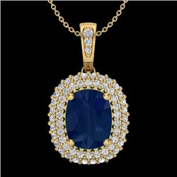 3.15 CTW Sapphire & Micro Pave VS/SI Diamond Halo Necklace 18K Yellow Gold - REF-90X9R - 20420