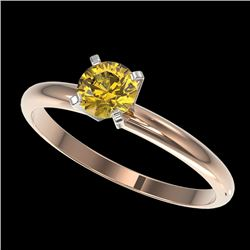 0.50 CTW Certified Intense Yellow SI Diamond Solitaire Engagement Ring 10K Rose Gold - REF-58R2K - 3