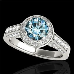 2.56 CTW SI Certified Fancy Blue Diamond Solitaire Halo Ring 10K White Gold - REF-290X9R - 34056