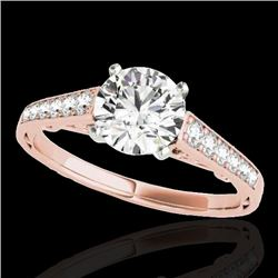 1.35 CTW H-SI/I Certified Diamond Solitaire Ring 10K Rose Gold - REF-156N4A - 34908
