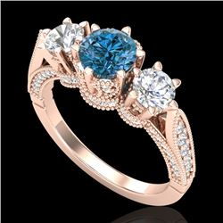 2.18 CTW Intense Blue Diamond Solitaire Art Deco 3 Stone Ring 18K Rose Gold - REF-254K5W - 38112