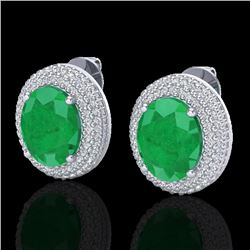 9.20 CTW Emerald & Micro Pave VS/SI Diamond Certified Earrings 18K White Gold - REF-190F2N - 20223