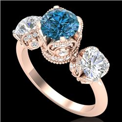 3 CTW Fancy Intense Blue Diamond Solitaire Art Deco 3 Stone Ring 18K Rose Gold - REF-418F2N - 37433