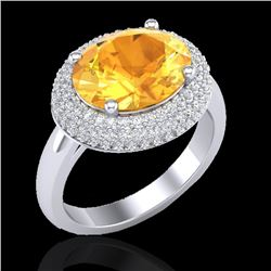 4 CTW Citrine & Micro Pave VS/SI Diamond Certified Ring 18K White Gold - REF-98A5V - 20911