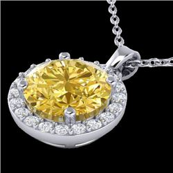 2 CTW Citrine & Halo VS/SI Diamond Micro Pave Necklace Solitaire 18K White Gold - REF-41N3A - 21558