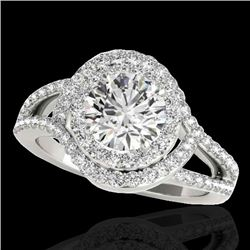 2.15 CTW H-SI/I Certified Diamond Solitaire Halo Ring 10K White Gold - REF-343M6F - 34396