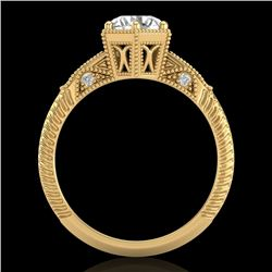 1.17 CTW VS/SI Diamond Solitaire Art Deco Ring 18K Yellow Gold - REF-381H8M - 37216
