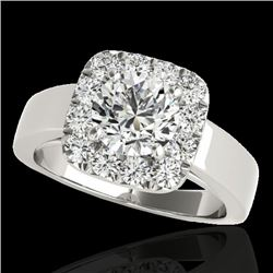 1.55 CTW H-SI/I Certified Diamond Solitaire Halo Ring 10K White Gold - REF-174N5A - 34238