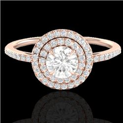1 CTW Micro Pave VS/SI Diamond Solitaire Ring Double Halo 14K Rose Gold - REF-123M5F - 21613