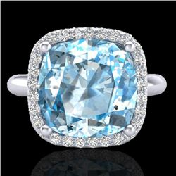 6 CTW Sky Blue Topaz & Micro Pave Halo VS/SI Diamond Ring 18K White Gold - REF-56Y4X - 23106