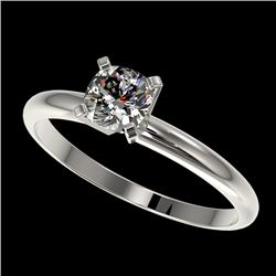0.50 CTW Certified VS/SI Quality Cushion Cut Diamond Solitaire Ring 10K White Gold - REF-77K6W - 328