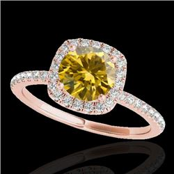 1.50 CTW Certified SI/I Fancy Intense Yellow Diamond Solitaire Halo Ring 10K Rose Gold - REF-180H2M