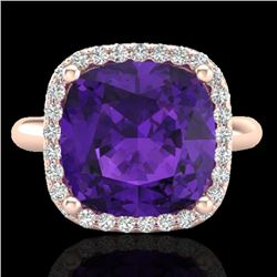 6 CTW Amethyst & Micro Pave Halo VS/SI Diamond Ring Solitaire 14K Rose Gold - REF-49X3R - 23092