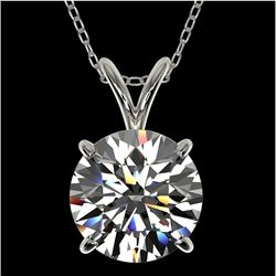2 CTW Certified H-SI/I Quality Diamond Solitaire Necklace 10K White Gold - REF-585X2R - 33230
