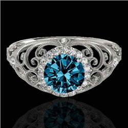 1.22 CTW SI Certified Fancy Blue Diamond Solitaire Halo Ring 10K White Gold - REF-170V9Y - 33783