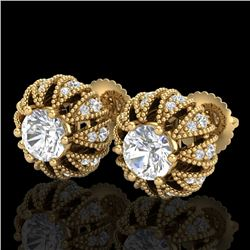 2.01 CTW VS/SI Diamond Art Deco Micro Pave Stud Earrings 18K Yellow Gold - REF-272A7V - 36997
