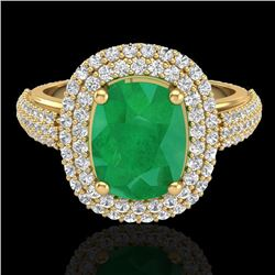 3.50 CTW Emerald & Micro Pave VS/SI Diamond Certified Halo Ring 18K Yellow Gold - REF-143R6K - 20718