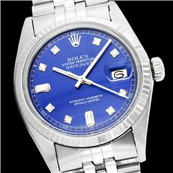 Rolex Men's Stainless Steel, QuickSet, Diamond Dial with Fluted Bezel - REF-407X3Y