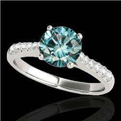 1.25 CTW SI Certified Fancy Blue Diamond Solitaire Ring 10K White Gold - REF-156A4V - 34824