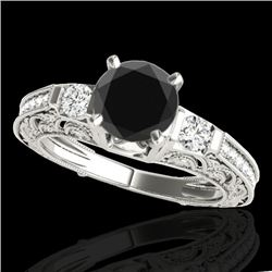 1.38 CTW Certified VS Black Diamond Solitaire Antique Ring 10K White Gold - REF-63H6M - 34642