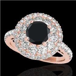 2.09 CTW Certified VS Black Diamond Solitaire Halo Ring 10K Rose Gold - REF-112M9F - 33692