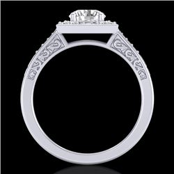 1.10 CTW VS/SI Diamond Art Deco Ring 18K White Gold - REF-227F3N - 37265