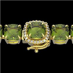 40 CTW Green Tourmaline & Micro VS/SI Diamond Halo Bracelet 14K Yellow Gold - REF-404V4Y - 23314