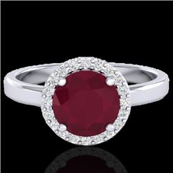 2 CTW Ruby & Halo VS/SI Diamond Micro Pave Ring Solitaire 18K White Gold - REF-58W2H - 21641