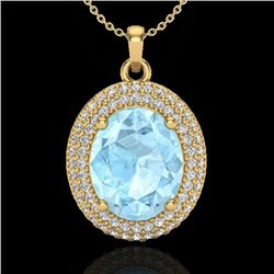 4 CTW Aquamarine & Micro Pave VS/SI Diamond Certified Necklace 18K Yellow Gold - REF-122X7R - 20555