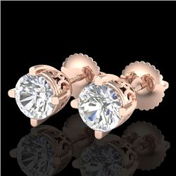 1.50 CTW VS/SI Diamond Solitaire Art Deco Stud Earrings 18K Rose Gold - REF-318R2K - 37230