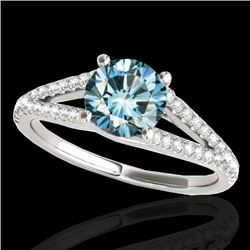 1.25 CTW SI Certified Fancy Blue Diamond Solitaire Ring 10K White Gold - REF-161H8M - 35307