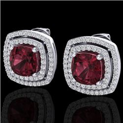 4.55 CTW Garnet & Micro Pave VS/SI Diamond Certified Halo Earrings 18K White Gold - REF-104R9K - 201