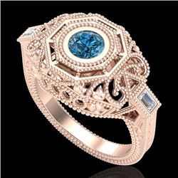 0.75 CTW Fancy Intense Blue Diamond Solitaire Art Deco Ring 18K Rose Gold - REF-172N7A - 37818