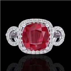 3.15 CTW Ruby & Micro VS/SI Diamond Certified Ring 18K White Gold - REF-76A9V - 23008