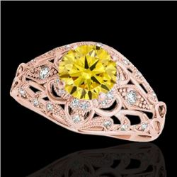 1.36 CTW Certified SI Intense Yellow Diamond Solitaire Antique Ring 10K Rose Gold - REF-172H7M - 347