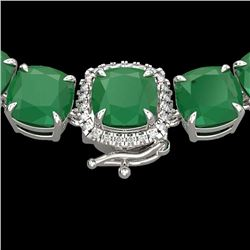 116 CTW Emerald & VS/SI Diamond Halo Micro Pave Necklace 14K White Gold - REF-467X3R - 23342