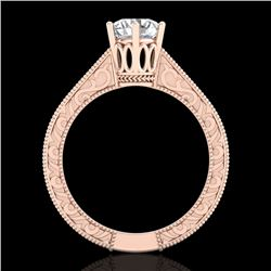 1 CTW VS/SI Diamond Solitaire Art Deco Ring 18K Rose Gold - REF-330F2N - 36927