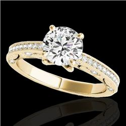 1.25 CTW H-SI/I Certified Diamond Solitaire Antique Ring 10K Yellow Gold - REF-158W2H - 34740