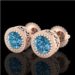 1.09 CTW Fancy Intense Blue Diamond Art Deco Stud Earrings 18K Rose Gold - REF-123M6F - 37482