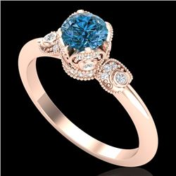1 CTW Intense Blue Diamond Solitaire Engagement Art Deco Ring 18K Rose Gold - REF-127Y3X - 37398