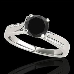 1.18 CTW Certified VS Black Diamond Solitaire Ring 10K White Gold - REF-59W5H - 35286