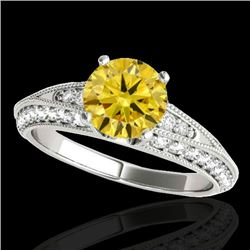 1.58 CTW Certified SI Intense Yellow Diamond Solitaire Antique Ring 10K White Gold - REF-172V7Y - 34
