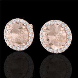 3 CTW Morganite & Halo VS/SI Diamond Micro Pave Earrings Solitaire 14K Rose Gold - REF-68V4Y - 21496