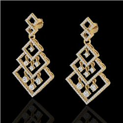 3 CTW Micro Pave VS/SI Diamond Earrings Dangling Designer 14K Yellow Gold - REF-267M6F - 22490
